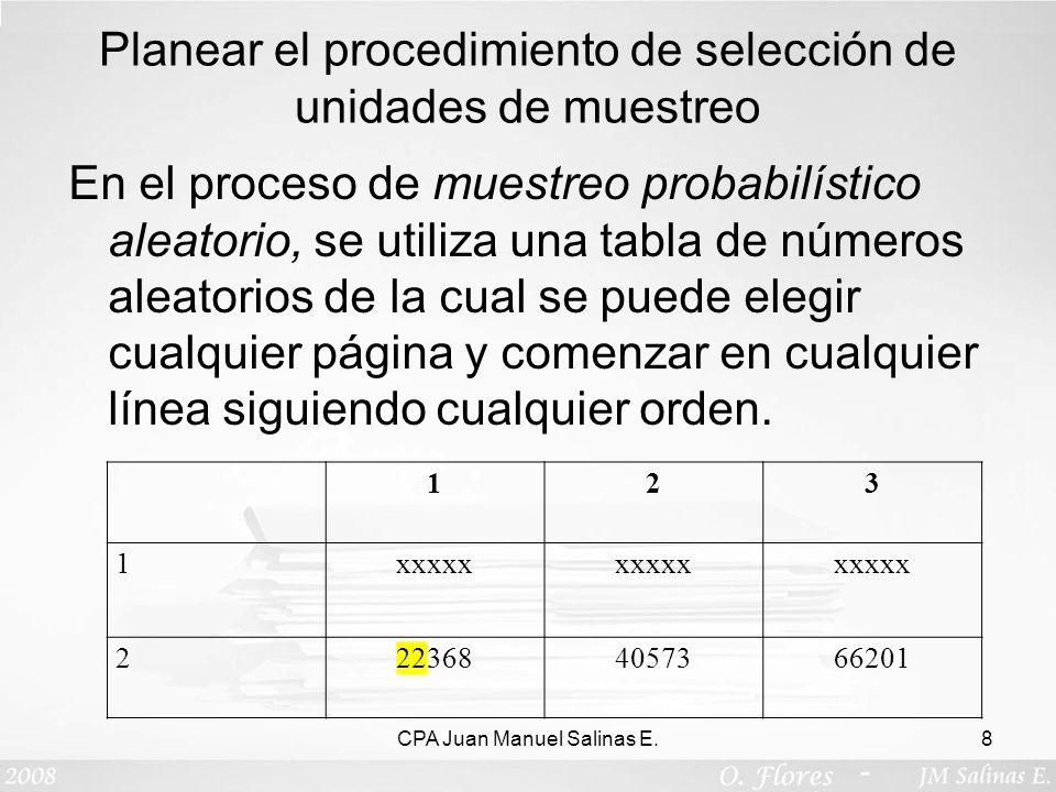 Planear el procedimiento de selección de unidades de muestreo