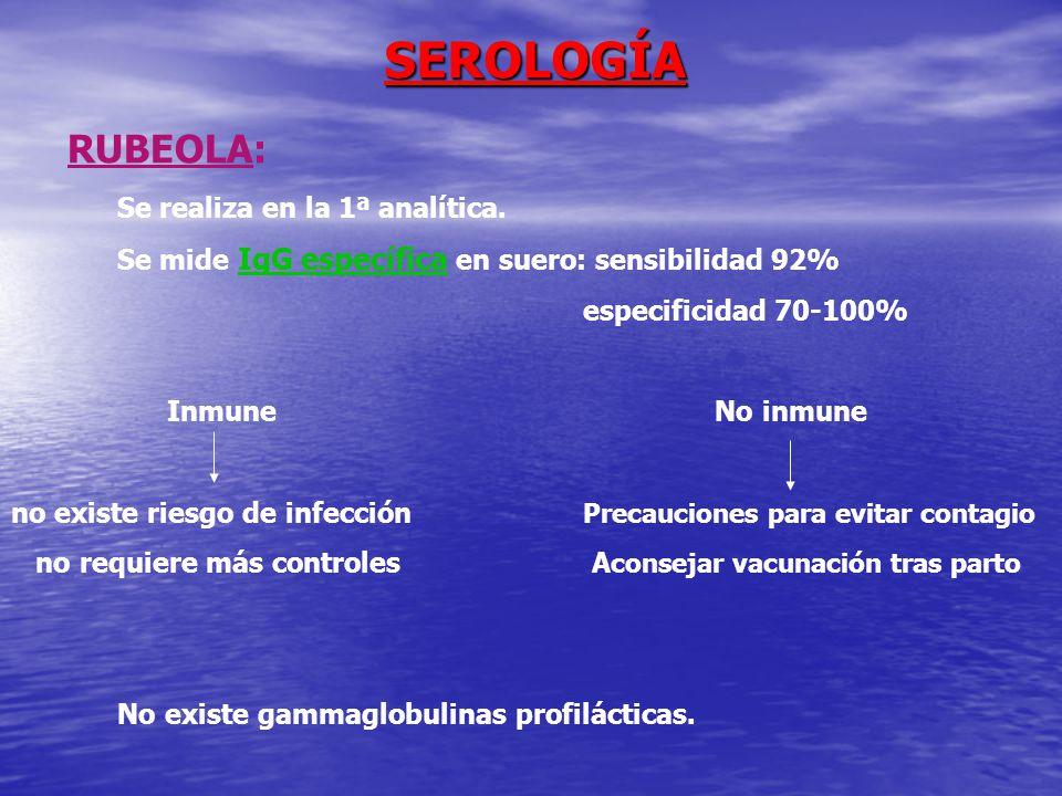 SEROLOGÍA RUBEOLA: Se realiza en la 1ª analítica.