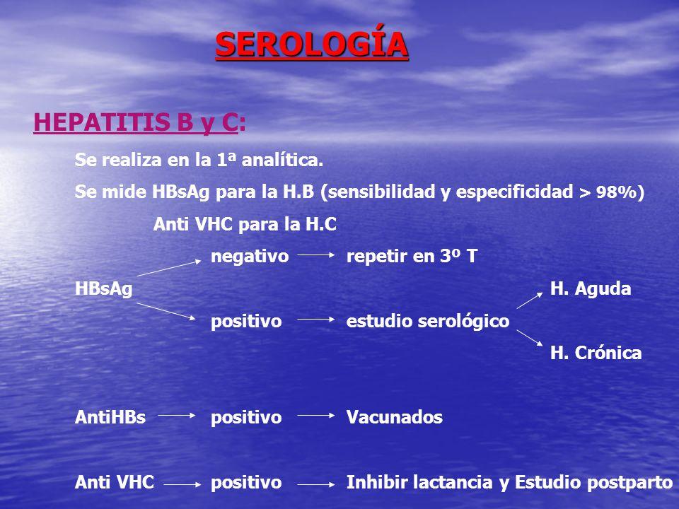 SEROLOGÍA HEPATITIS B y C: Se realiza en la 1ª analítica.