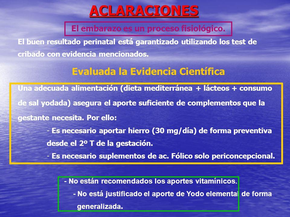 ACLARACIONES Evaluada la Evidencia Científica