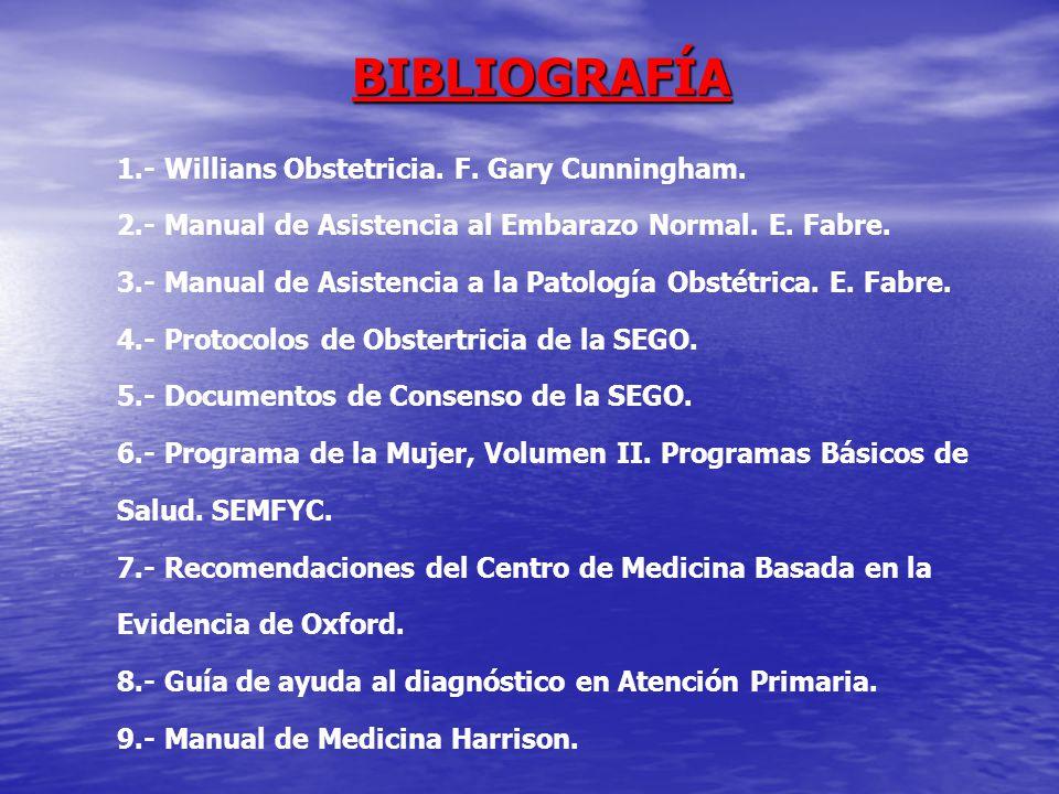 BIBLIOGRAFÍA 1.- Willians Obstetricia. F. Gary Cunningham.