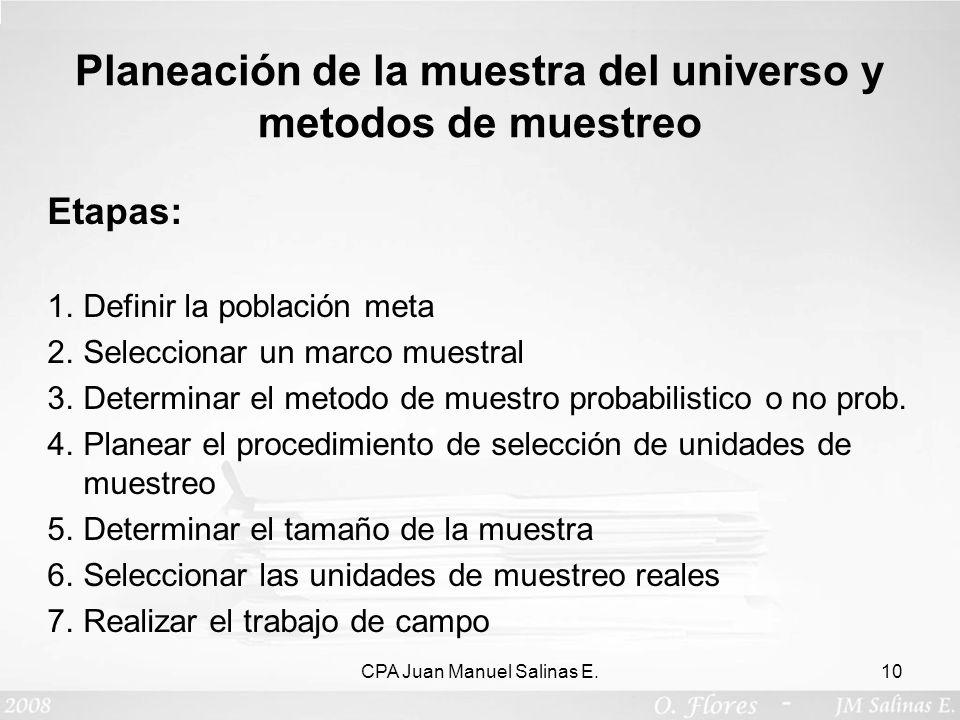 Planeación de la muestra del universo y metodos de muestreo