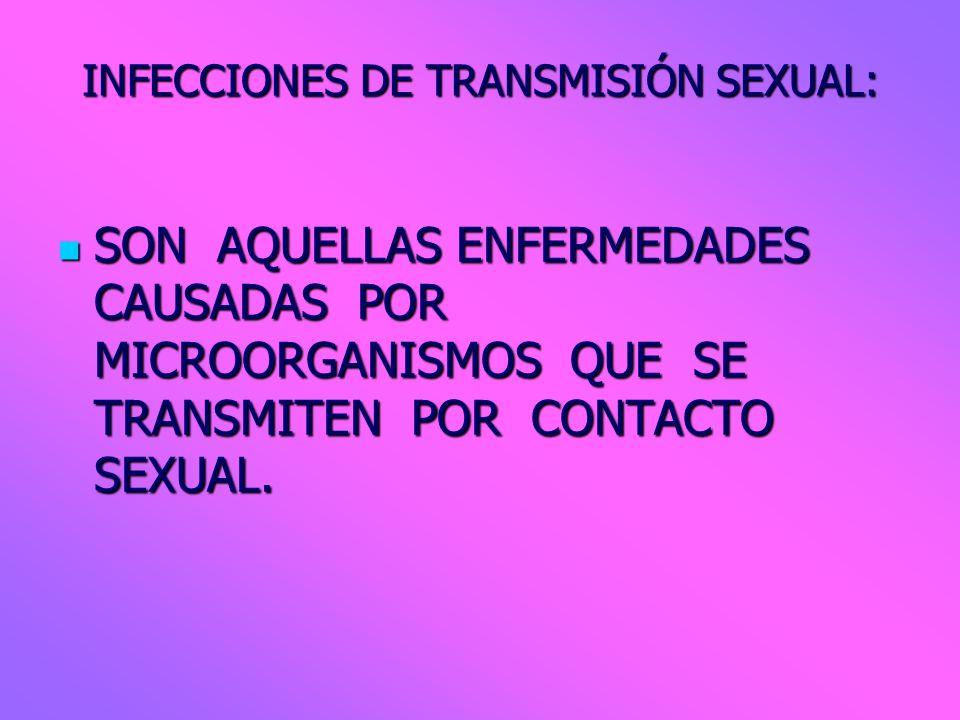 INFECCIONES DE TRANSMISIÓN SEXUAL: