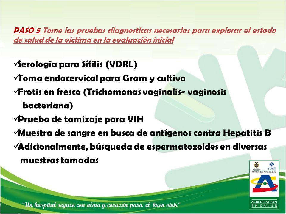 Serología para Sífilis (VDRL) Toma endocervical para Gram y cultivo