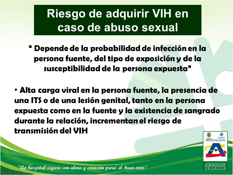 Riesgo de adquirir VIH en caso de abuso sexual