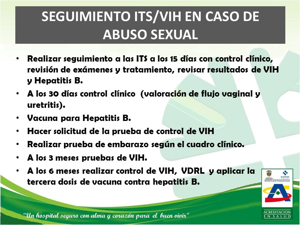 SEGUIMIENTO ITS/VIH EN CASO DE ABUSO SEXUAL