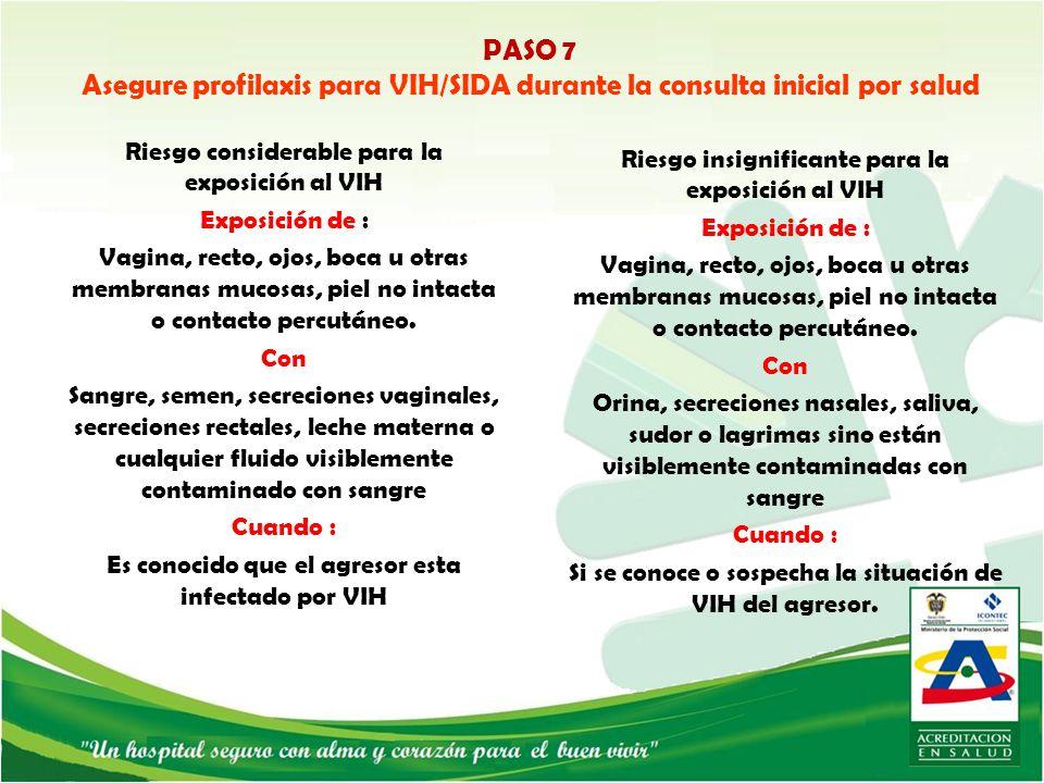 PASO 7 Asegure profilaxis para VIH/SIDA durante la consulta inicial por salud