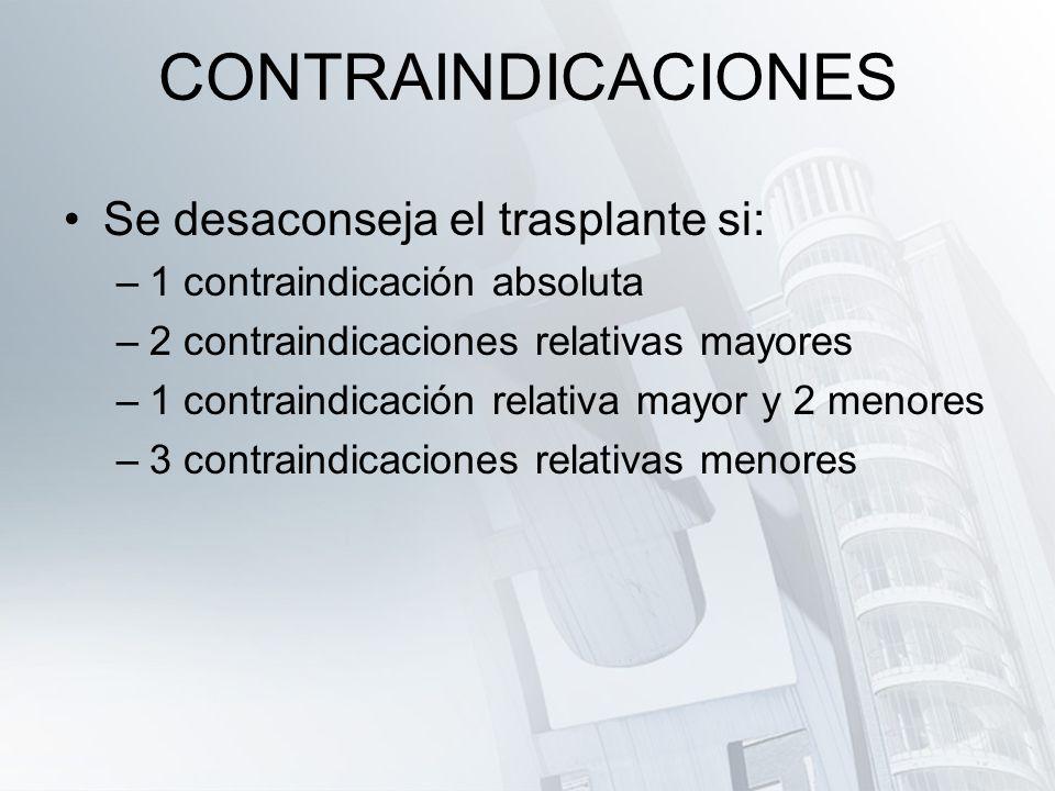 CONTRAINDICACIONES Se desaconseja el trasplante si: