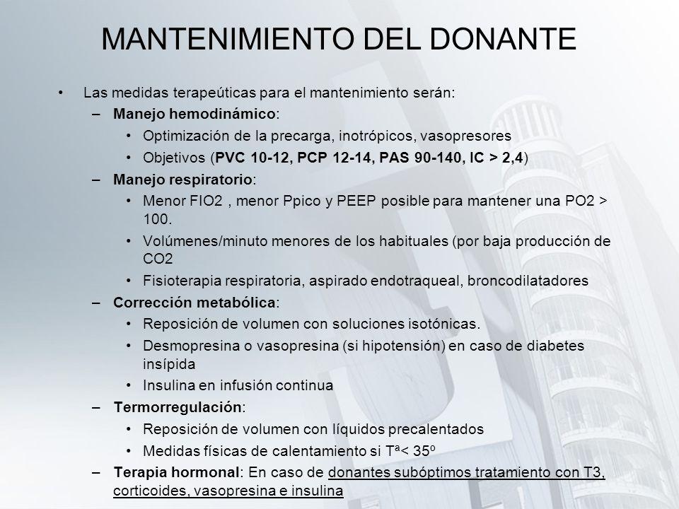 MANTENIMIENTO DEL DONANTE