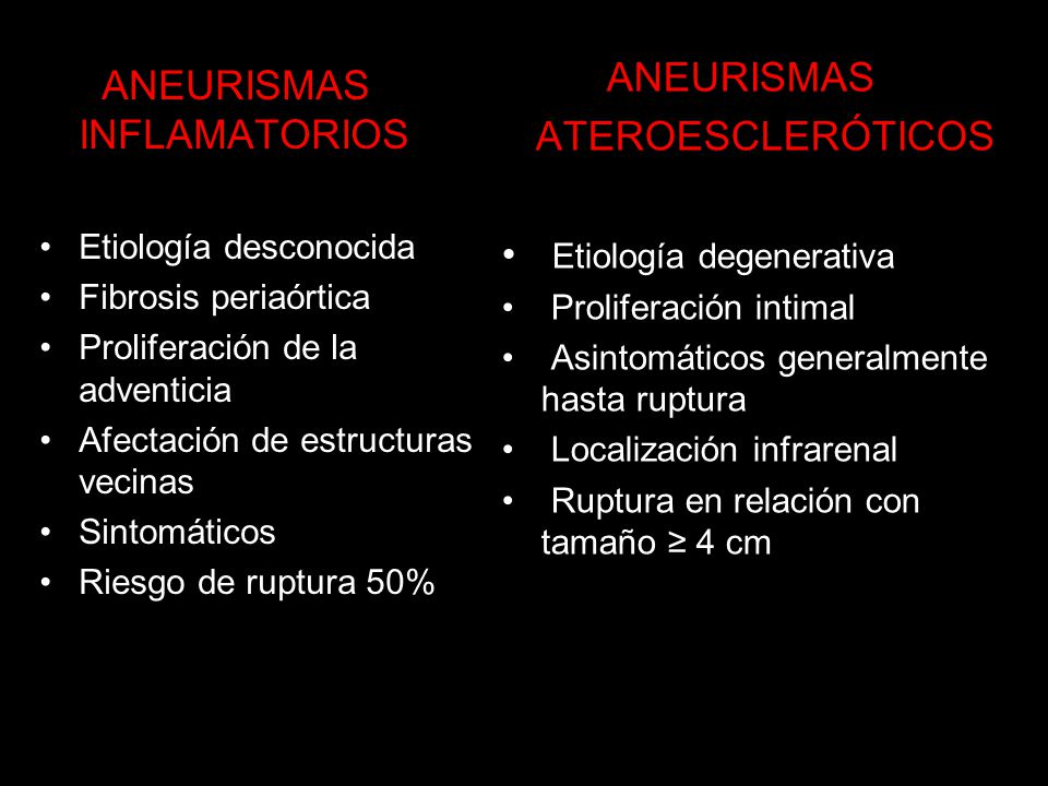 Etiología degenerativa ANEURISMAS INFLAMATORIOS