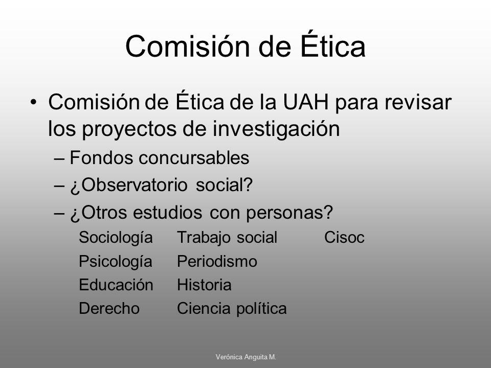 Comisión de Ética Comisión de Ética de la UAH para revisar los proyectos de investigación. Fondos concursables.