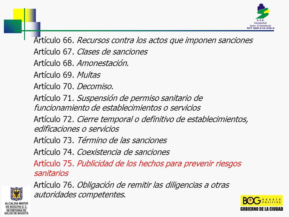 Artículo 66. Recursos contra los actos que imponen sanciones