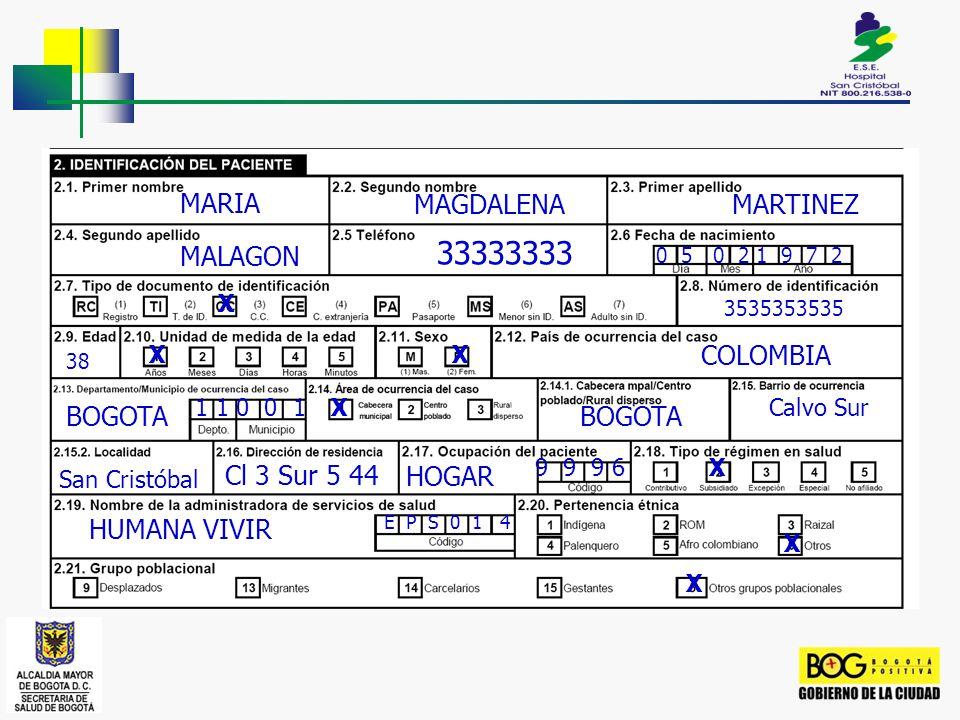 33333333 MARIA MAGDALENA MARTINEZ MALAGON COLOMBIA BOGOTA BOGOTA
