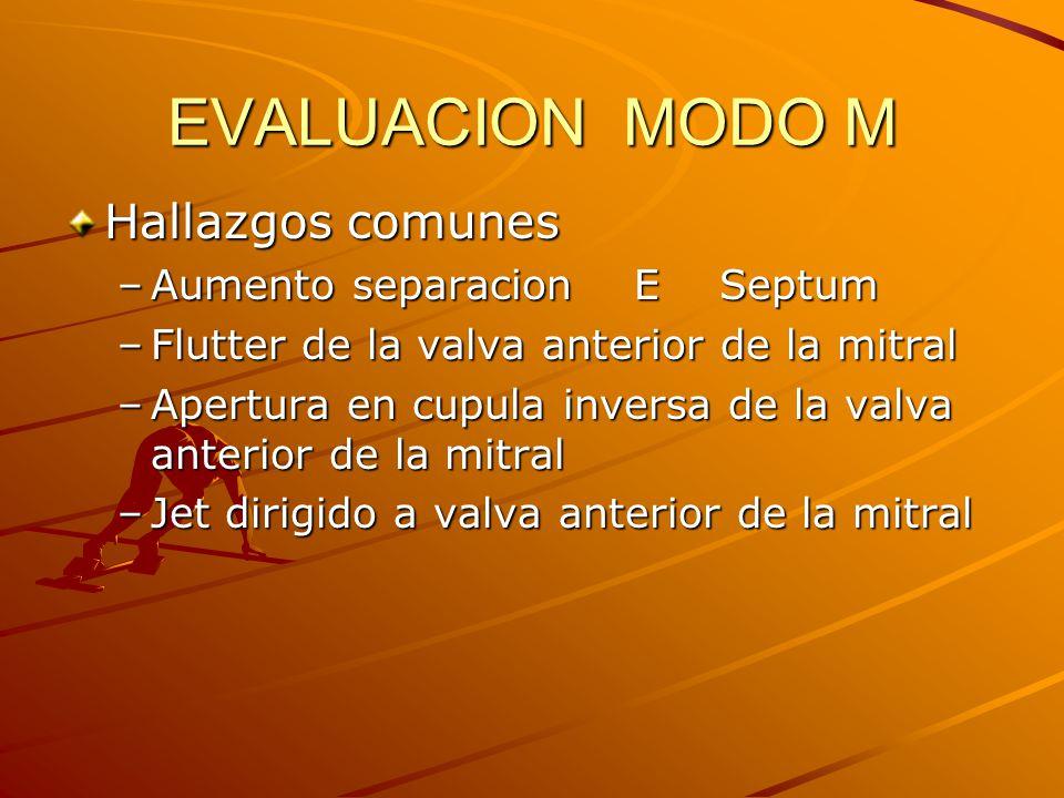 EVALUACION MODO M Hallazgos comunes Aumento separacion E Septum