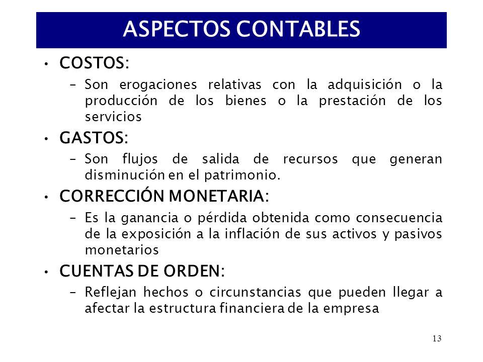 ASPECTOS CONTABLES COSTOS: GASTOS: CORRECCIÓN MONETARIA: