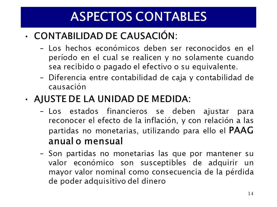 ASPECTOS CONTABLES CONTABILIDAD DE CAUSACIÓN: