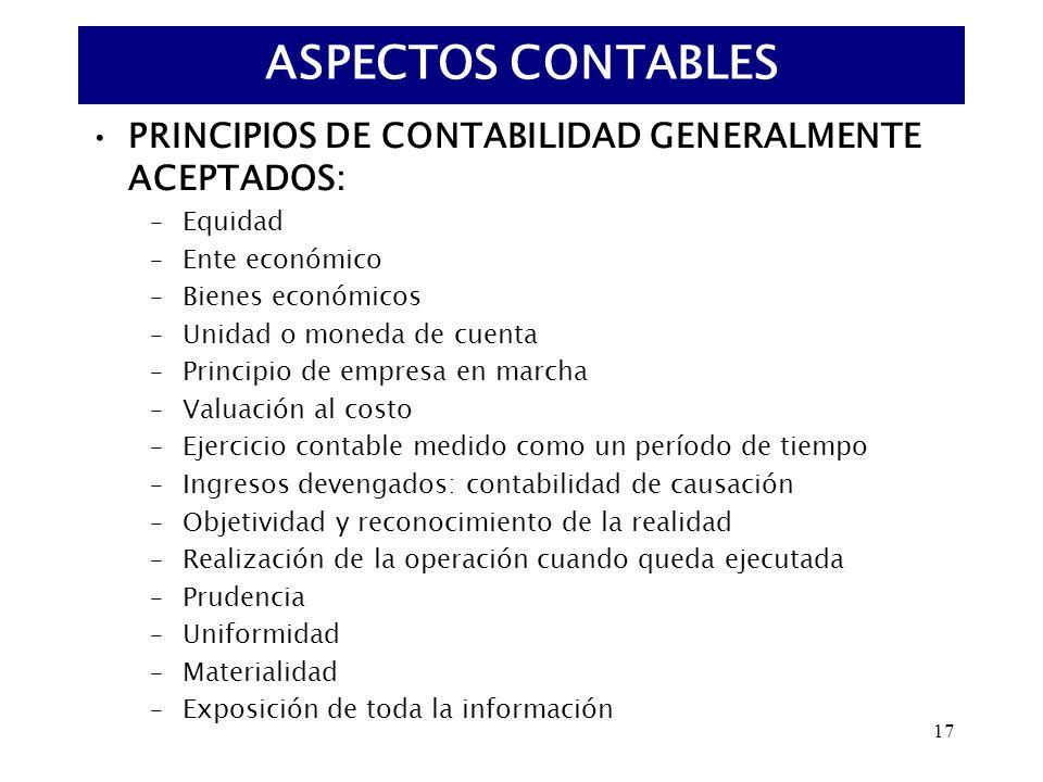 ASPECTOS CONTABLES PRINCIPIOS DE CONTABILIDAD GENERALMENTE ACEPTADOS: