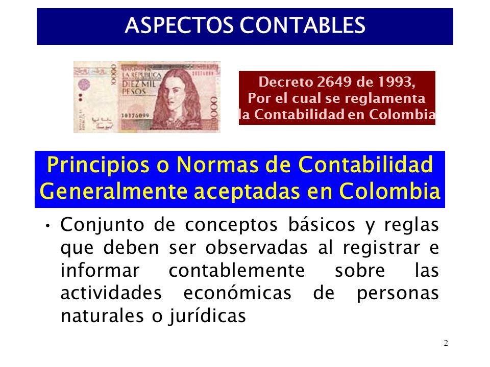 Principios o Normas de Contabilidad Generalmente aceptadas en Colombia