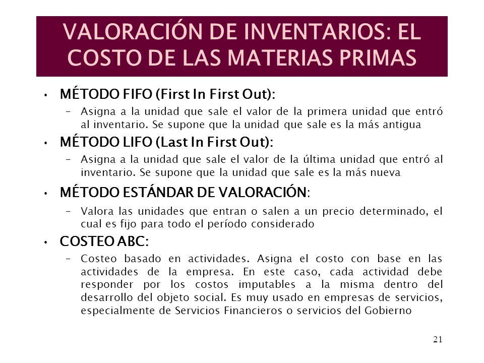 VALORACIÓN DE INVENTARIOS: EL COSTO DE LAS MATERIAS PRIMAS