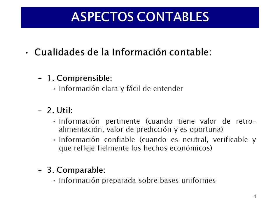 ASPECTOS CONTABLES Cualidades de la Información contable: