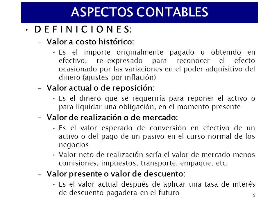 ASPECTOS CONTABLES D E F I N I C I O N E S: Valor a costo histórico: