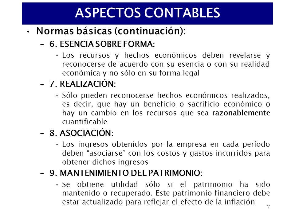 ASPECTOS CONTABLES Normas básicas (continuación):