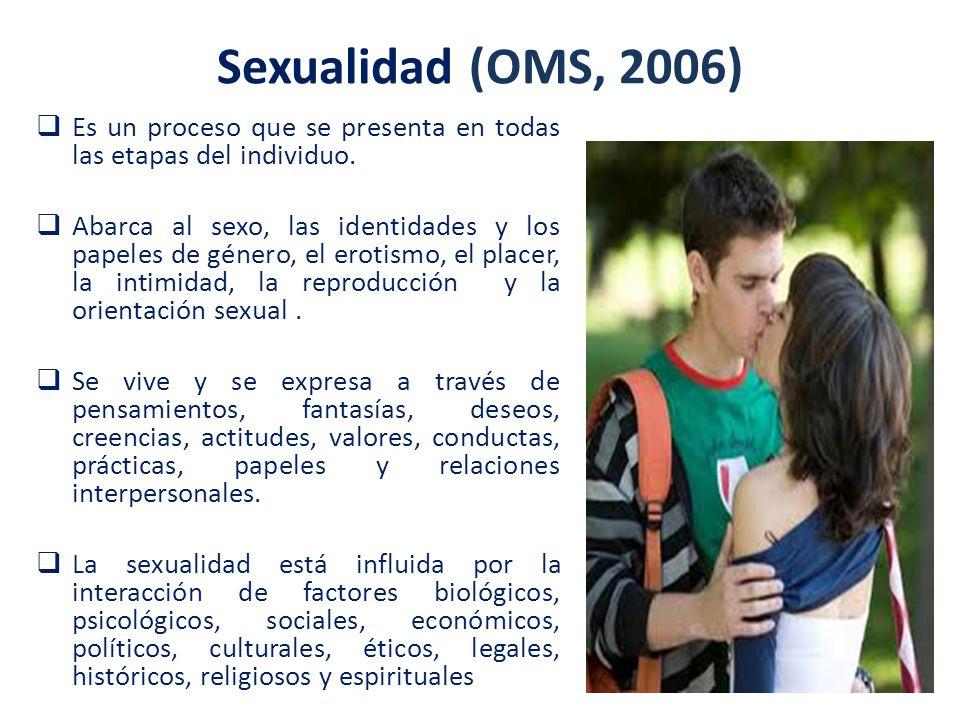 Sexualidad (OMS, 2006) Es un proceso que se presenta en todas las etapas del individuo.