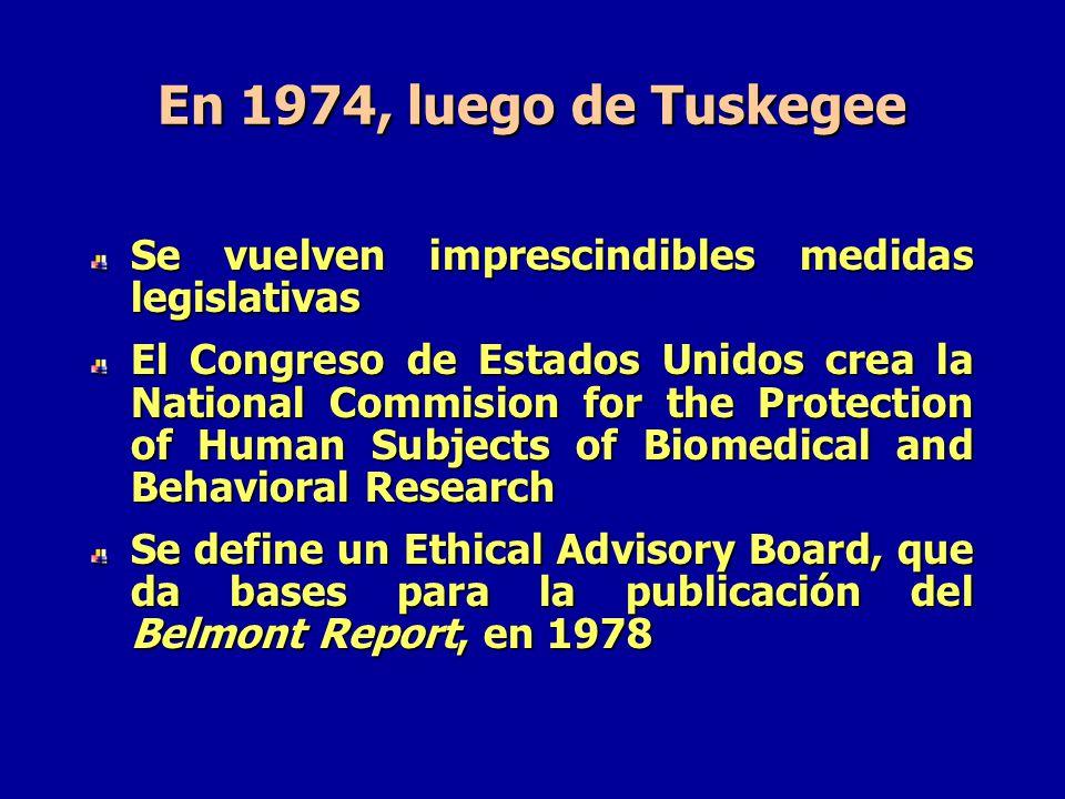 En 1974, luego de Tuskegee Se vuelven imprescindibles medidas legislativas.