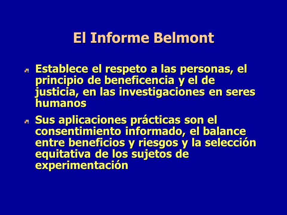 El Informe Belmont Establece el respeto a las personas, el principio de beneficencia y el de justicia, en las investigaciones en seres humanos.