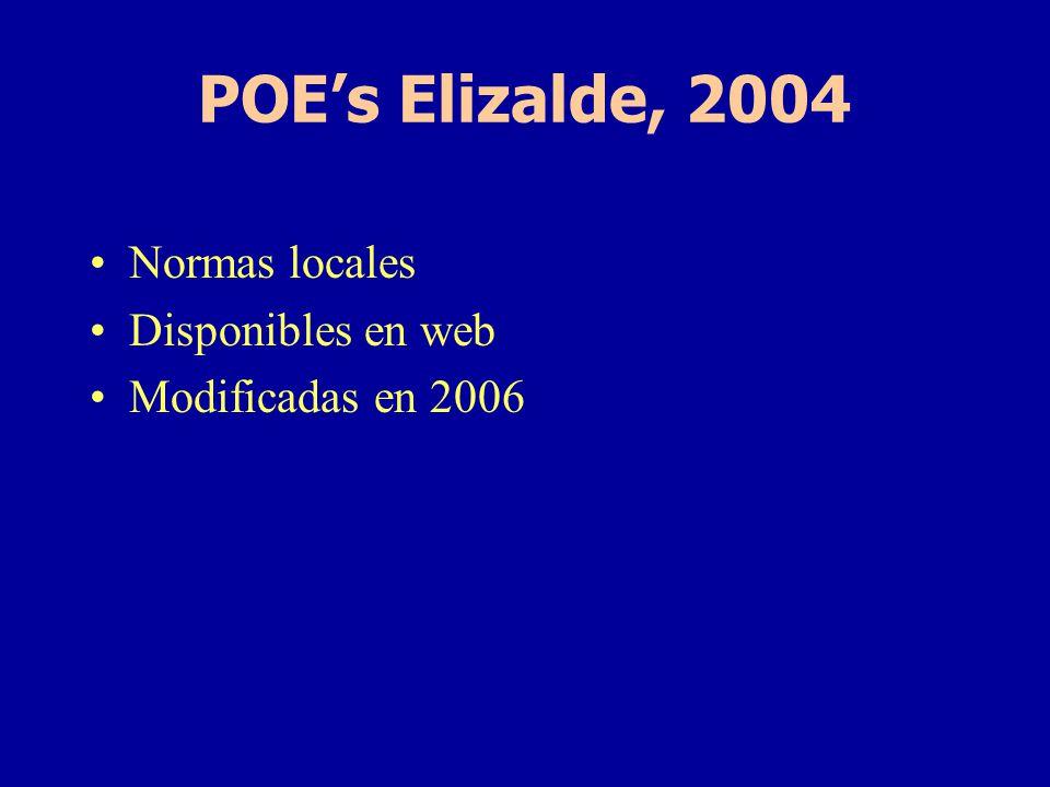 POE's Elizalde, 2004 Normas locales Disponibles en web