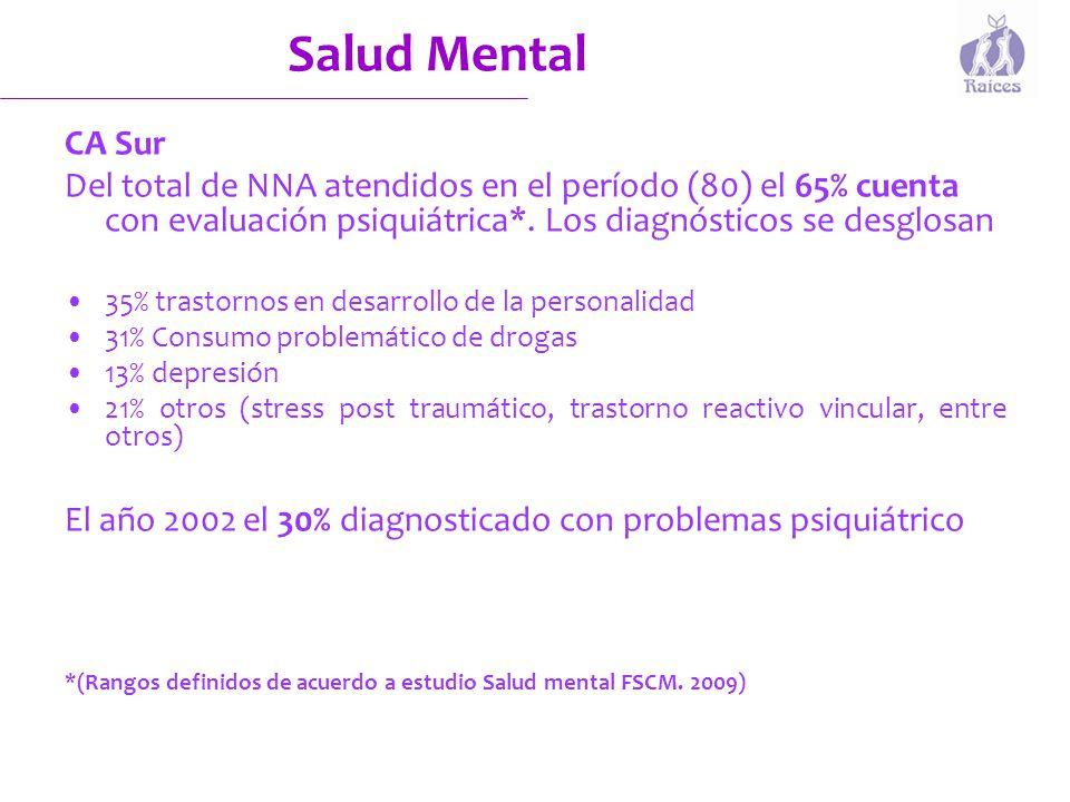 Salud Mental CA Sur. Del total de NNA atendidos en el período (80) el 65% cuenta con evaluación psiquiátrica*. Los diagnósticos se desglosan.