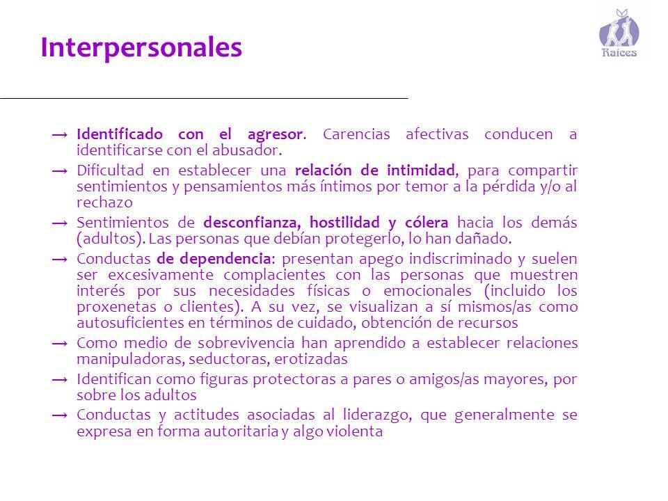 Interpersonales Identificado con el agresor. Carencias afectivas conducen a identificarse con el abusador.
