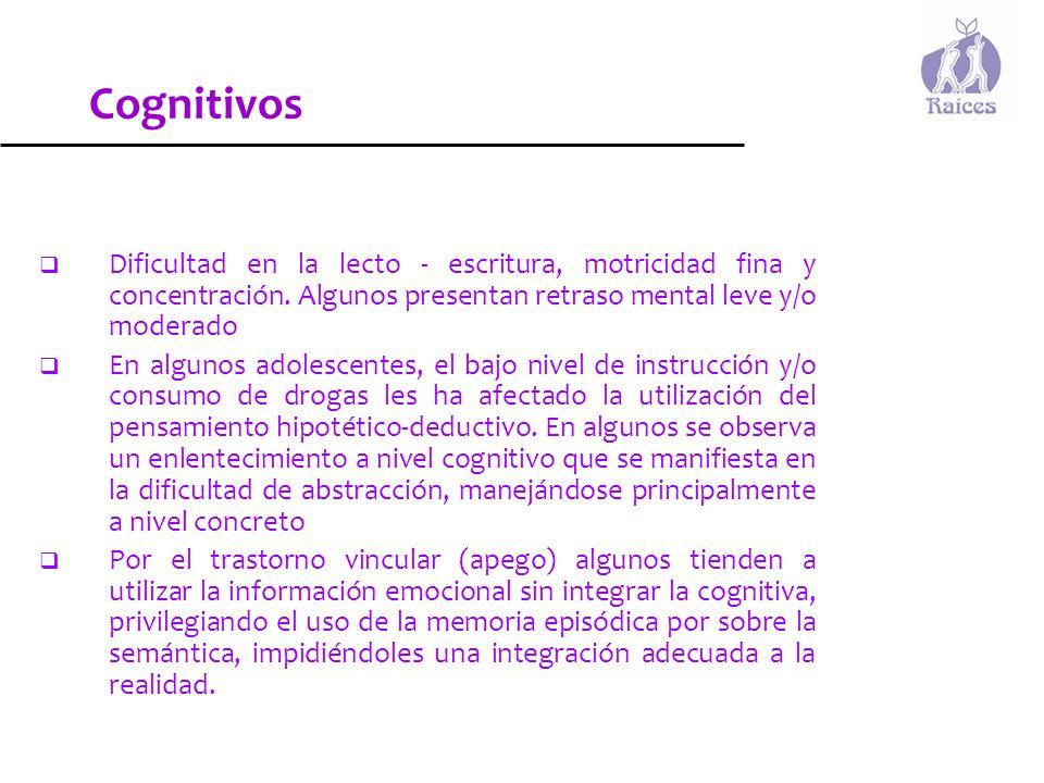 Cognitivos Dificultad en la lecto - escritura, motricidad fina y concentración. Algunos presentan retraso mental leve y/o moderado.