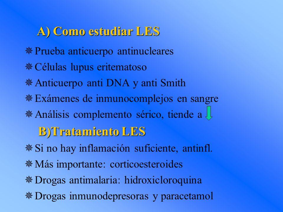 A) Como estudiar LES B)Tratamiento LES Prueba anticuerpo antinucleares