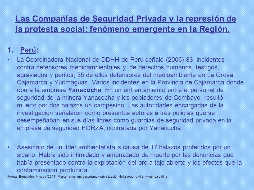 Las Compañías de Seguridad Privada y la represión de la protesta social: fenómeno emergente en la Región.