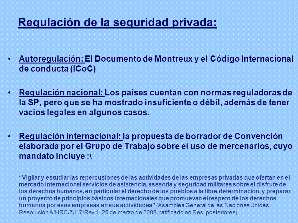 Regulación de la seguridad privada:
