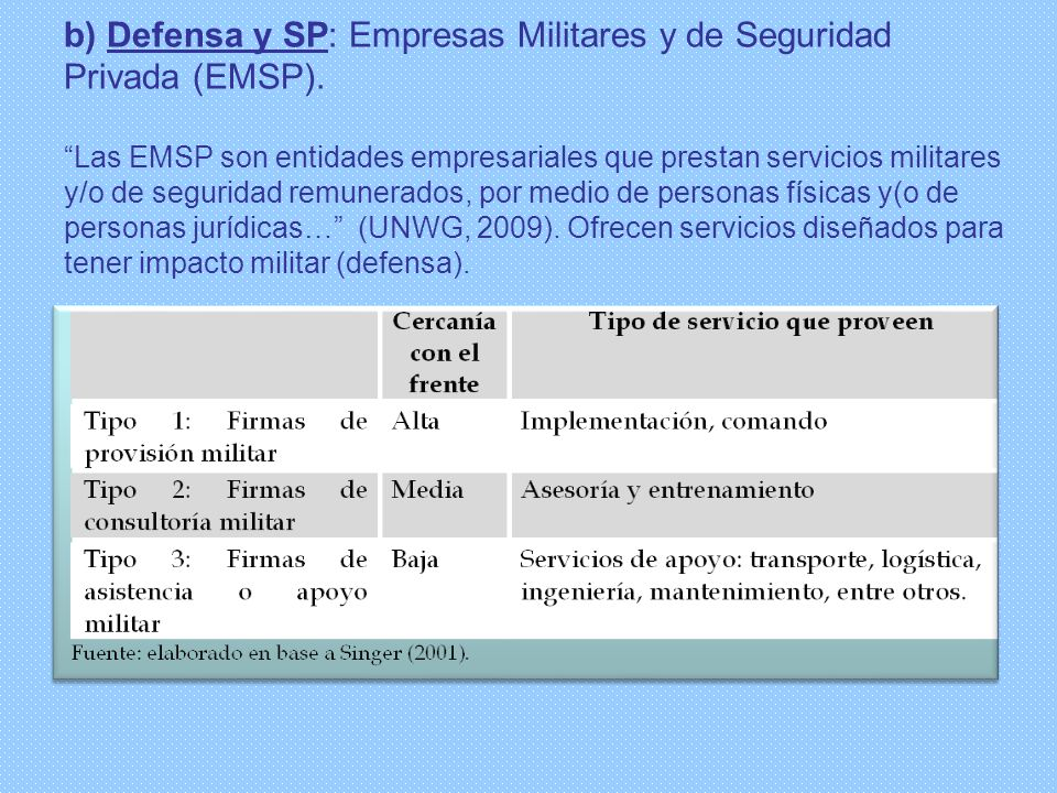 b) Defensa y SP: Empresas Militares y de Seguridad Privada (EMSP)