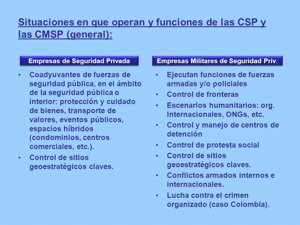 Situaciones en que operan y funciones de las CSP y las CMSP (general):