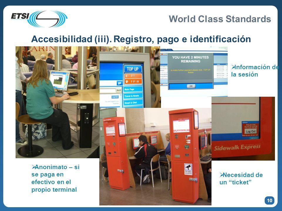 Accesibilidad (iii). Registro, pago e identificación