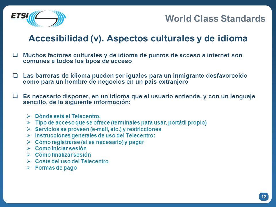 Accesibilidad (v). Aspectos culturales y de idioma