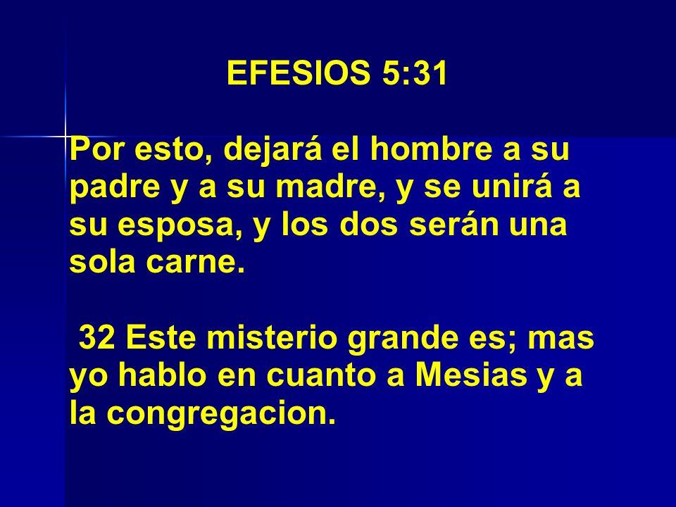 EFESIOS 5:31 Por esto, dejará el hombre a su padre y a su madre, y se unirá a su esposa, y los dos serán una sola carne.