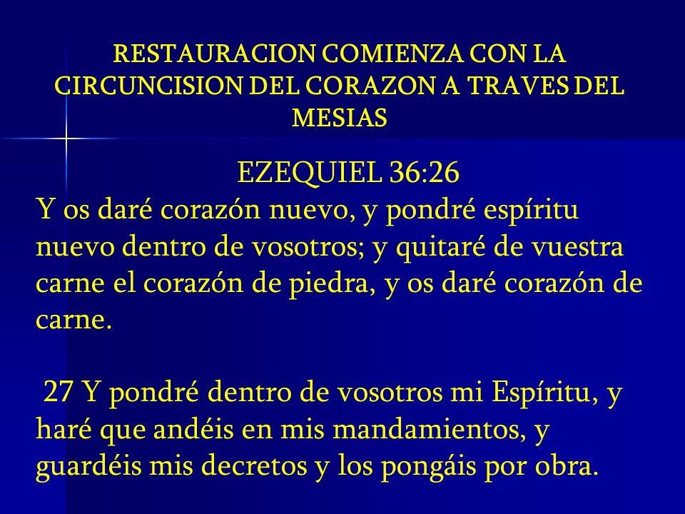 RESTAURACION COMIENZA CON LA CIRCUNCISION DEL CORAZON A TRAVES DEL MESIAS