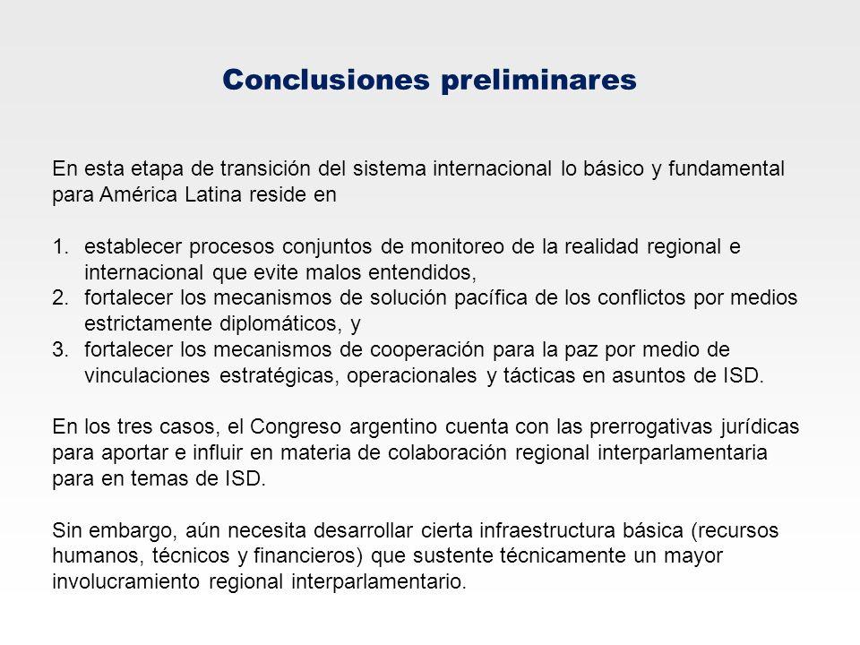 Conclusiones preliminares