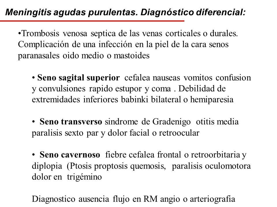 Meningitis agudas purulentas. Diagnóstico diferencial: