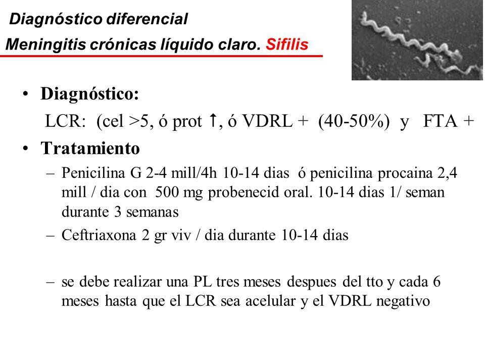 LCR: (cel >5, ó prot , ó VDRL + (40-50%) y FTA + Tratamiento