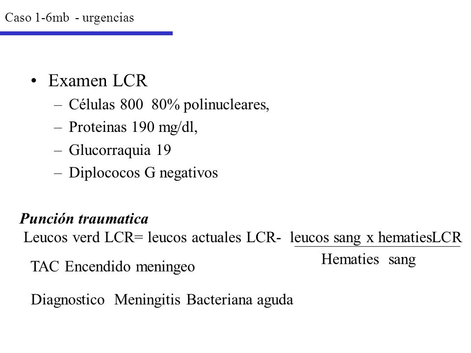 Examen LCR Células 800 80% polinucleares, Proteinas 190 mg/dl,