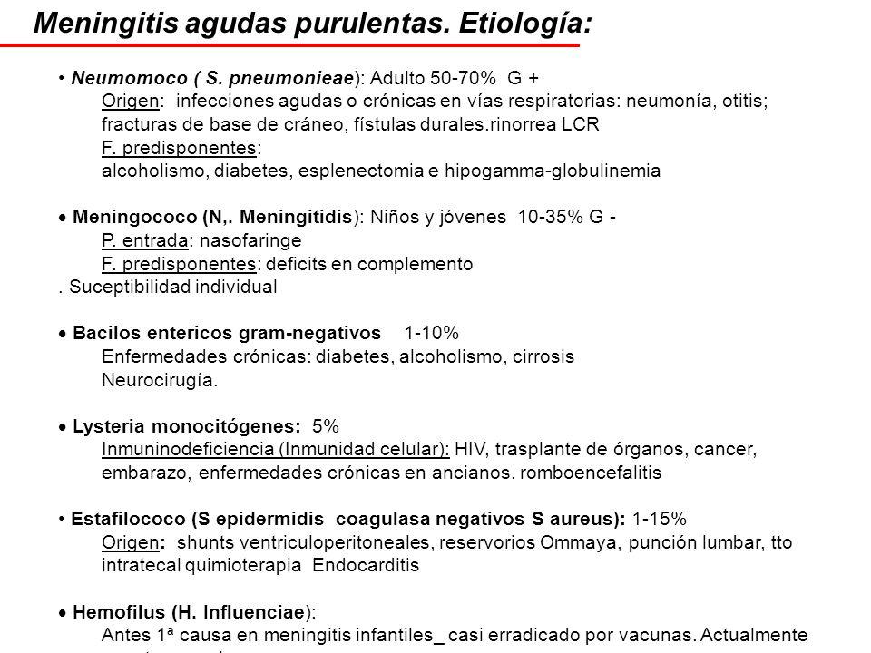 Meningitis agudas purulentas. Etiología: