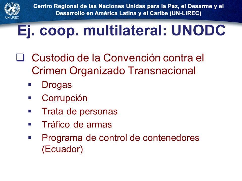Ej. coop. multilateral: UNODC