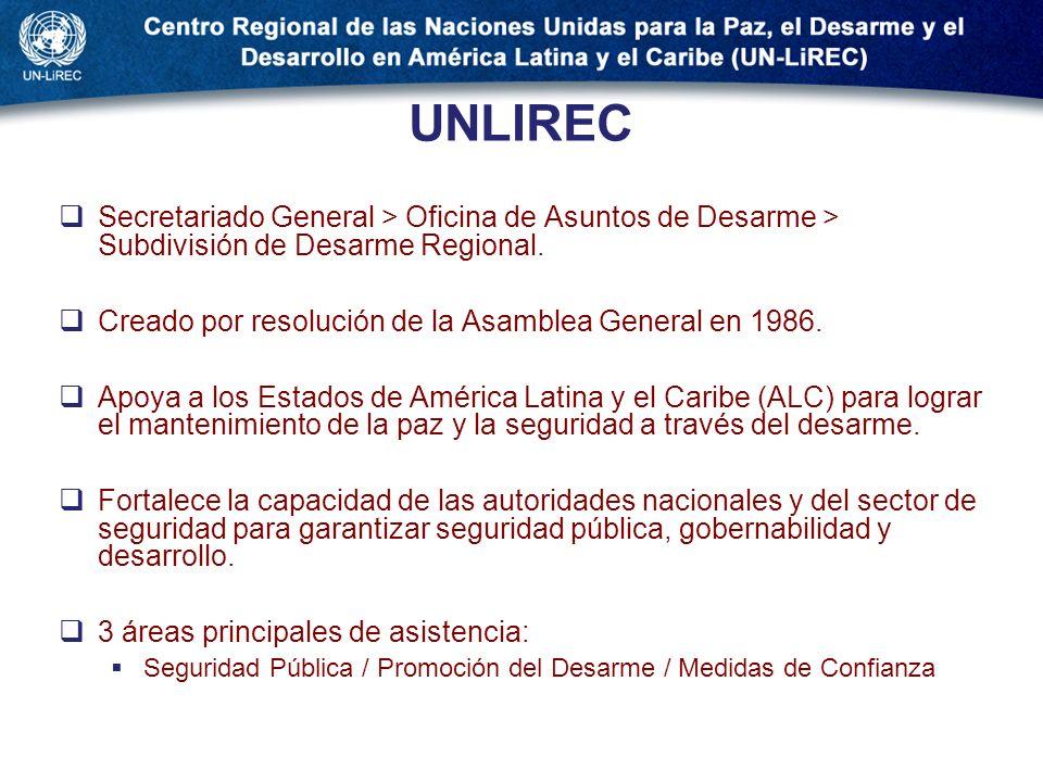 UNLIREC Secretariado General > Oficina de Asuntos de Desarme > Subdivisión de Desarme Regional.