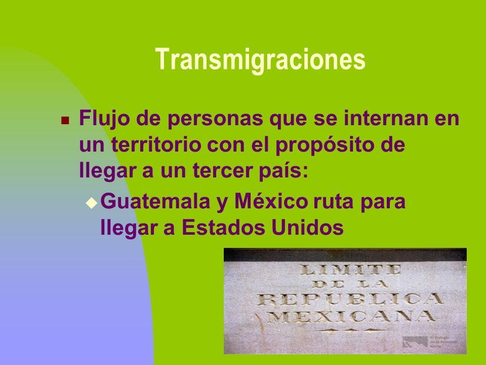 TransmigracionesFlujo de personas que se internan en un territorio con el propósito de llegar a un tercer país: